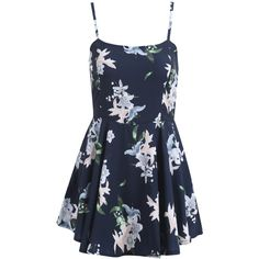 SheIn(sheinside) Black Spaghetti Strap Lily Print Ruffle Dress ($18) ❤ liked on Polyvore featuring dresses, multicolor, short party dresses, cocktail party dress, floral print dress, short summer dresses and short cocktail dresses