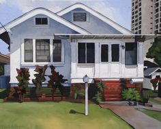 """Cottage on Mott-Smith dr. by Brenda Cablayan Acrylic ~ 24"""" x 30"""""""