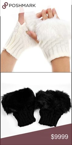 Faux Fur Fingerless Gloves-Black New! Fingerless fitted gloves with faux fur. Stay warm and stylish!  Also available in white. Accessories Gloves & Mittens #fitnessgloves