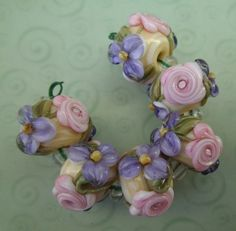 BLISS Roses and Lavender Blossom on Ivory Lampwork Bead Set