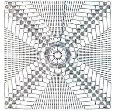 toalha de mesa de crochê de motivos quadrados