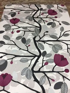 Tablecloth, elegant purple floral tablecloth, silver leaves,  table decoration, Scandinavian design, by SiKriDream on Etsy