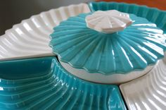 Retro Turquoise and White Pottery Lazy Susan Serving Set Covered Bowl, Mid Century California Pottery Partyware,Teal Appetizer Dish, Easter - SOLD! :)