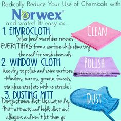 Norwex Consultants are committed to helping you save time and money by providing you with a complete line of products that are better for your health and better for the environment. With Norwex, not o Cleaning Fun, Norwex Cleaning, Chemical Free Cleaning, Safe Cleaning Products, Green Cleaning, Norwex Products, Cleaning Cloths, Cleaning Solutions, Norwex Australia