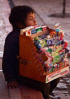 Little street vendor . Mexico