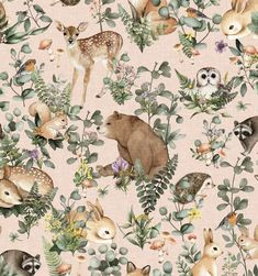 3 view image 2 of 3 view image 3 of 3 Blush Wallpaper, Tier Wallpaper, Animal Wallpaper, Woodland Nursery, Woodland Animals, Woodland Art, Design Repeats, Illustrations, Wall Art