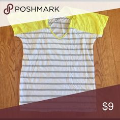 Gap tee shirt Striped gap t shirt with yellow cap sleeves. Size xs GAP Tops Tees - Short Sleeve