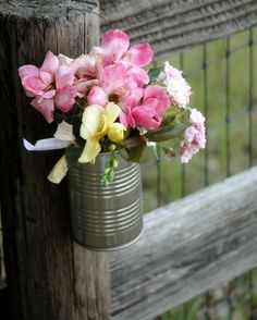 garden party decor, soup cans would be really cute with flowers in them