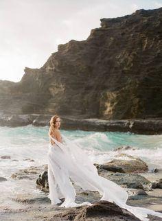 Ethereal bridal inspiration on the Hawaiian coast via Magnolia Rouge South Africa Beach, Blowin' In The Wind, Bridal Photoshoot, Ancient Greece, Beautiful Islands, Oahu, Wedding Inspiration, Wedding Ideas, Ethereal