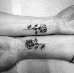 Matching roses by Tiago Oliveira Rose Wrist Tattoos, Small Rose Wrist Tattoo, Womens Rose Tattoo, Finger Rose Tattoo, Small Rose Tattoos, Small Flower Tattoos For Women, Rose Tattoo On Ankle, Small Sister Tattoos, Rose Tattoo Placement