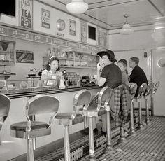 """October 1941. """"White Tower hamburger stand, the popular place in Amsterdam, New York."""" Medium-format nitrate negative by John Collier."""