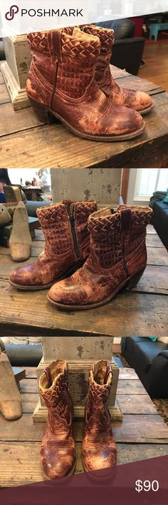 "Bed Stu Boots Bed Stu rugged ankle boots w/ 2.5"" heel. Distressed wine & tan colored leather. Lots of detail to these beauties. w/ Woven design on the boot w/ 1"" braided edge around the top & a western thread design at toe. Zips up on the sides & has a ""pull- on"" loop to help the boot glide one easily. In great used condition!!😉 Bed Stu Shoes Ankle Boots & Booties"