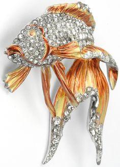 MB Boucher Pave and Metallic Enamel Fantail Goldfish or Pin