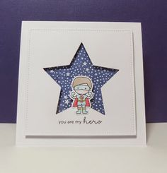 Funky Fossil Designs: Stars and Chevrons I die cut the star and popped it up over a Hero Arts starry background which had been white embossed and inked with Chipped Sapphire. I coloured a little hero figure from Mama Elephant and added a simple sentiment underneath him.