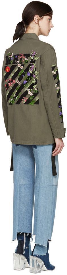 Off-White - Green Embroidered Military Jacket