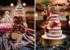 naked cake with white icing and red accents @myweddingdotcom