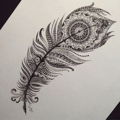 Incredible feather drawing!  Follow: @justsmalltattoos @justsmalltattoos! #tattooinkspiration (✌️ Credit: @sine_art)