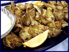 grilled artichokes w lemon aioli