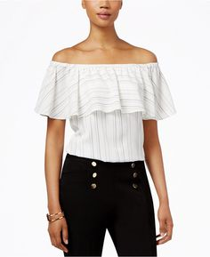 INC International Concepts Off-The-Shoulder Ruffle Blouse,  Only at Macy's #ruffle #blouse #offtheshoulder