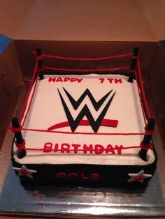 WWE cake Wrestling Birthday Cakes, Wrestling Cake, Wrestling Party, Wwe Cake, Wwe Party, Thomas Cakes, Cupcakes, Cake Business, 7th Birthday