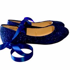 Sparkly Navy Blue Glitter Ballet Flats shoes wedding bride Womens Satin Tie  up Bow 71447f8a5