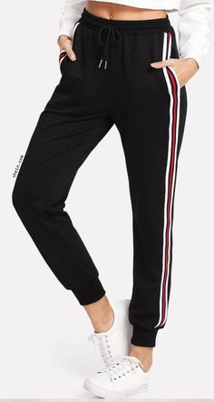 SweatyRocks Women's Drawstring Waist Striped Side Jogger Sweatpants with Pockets, Black Small Sporty Outfits, Mode Outfits, Trendy Outfits, Summer Outfits, Fashion Outfits, Womens Fashion, Sporty Fashion, Trendy Clothing, Mod Fashion