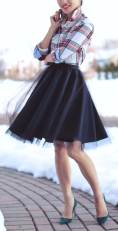 Black Tulle A-skirt by Extra Petite