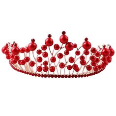 Bride Head Decoration Supplier Western Style Red Pearl Wedding Crown 18x6.5cm * Visit the image link more details.