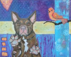 Meet Studel.  Does he know that bird is behind him?  16x20 acrylic on canvas.