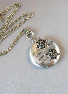 I love you to the moon and back A very famous quote from a beloved childrens book. I have added this sweet sentiment to this antiqued silver locket with a two cute little antiqued silver turtles. **If you choose the added birthstone option you will receive the locket pictured and #antiquebooks