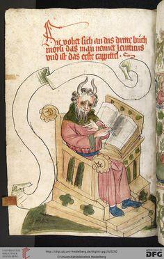 Moses in glasses. Haguenau - Workshop Diebold Lauber, 1441-1449. Heidelberg University Library, Cod Pal. Germ 19 Bible, dt: AT (books of Moses, Joshua, Judges)