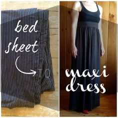 Bread and Roses Vintage: Winning at Sewing: DIY Bed Sheet to Maxi Dress Refashion