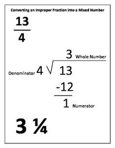 Converting Improper Fractions and Mixed Numbers Study Guide