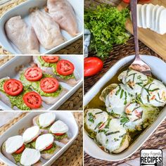 This simple Caprese Chicken recipe always impresses! The chicken covered in pesto, tomatoes and creamy mozzarella has delicious flavors and feels like a fancy meal, but only takes minutes to put together with only 4 simple ingredients and one dish.  It is perfect for guests but also great for a quick family dinner.
