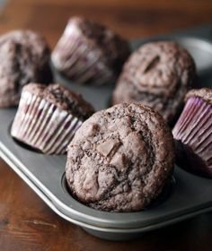 Double Chocolate Protein Muffins ...haven't try them but look delicious I may change the recipe to make it more kids friendly and use veg protein ...that's a lot of protein in one bite!
