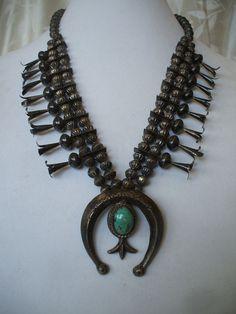 SIGNED Vintage NAVAJO Squash Blossom NECKLACE, Old Fluted Beads & Sandcast Naja.  TurquoiseKachina, $683.10