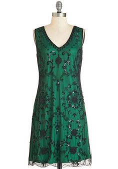 Bead It Dress in Emerald - Knit, Mixed Media, Green, Black, Beads, Party, Cocktail, Holiday Party, Vintage Inspired, 20s, Shift, Sleeveless,...