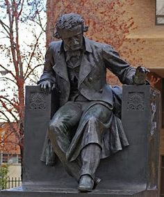 """Poe"" statue on the grounds of the U of Baltimore- College of Law"