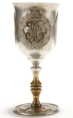 A TSAR ALEXANDER III RUSSIAN SILVERED COPPER CORONATION GOBLET, 19th century…