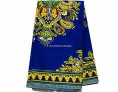 Blue Dashiki African Fabric for Dashiki Shirt/ by TessWorldDesigns