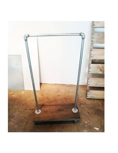 MINI SILVER RACK : Galvanized Steel Bolted Garment Rack with Premium Hardwood Base