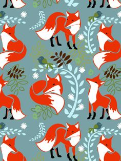 Surface pattern design – Foxes: shown here in various compositions and colour schemes, the design can be carried across fabric or paper goods. Description from inkpudding.wordpress.com. I searched for this on bing.com/images