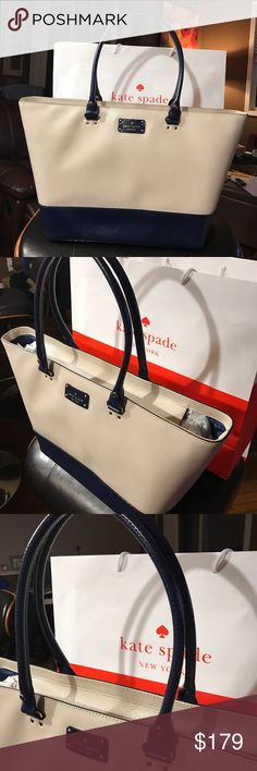 "Kate Spade Leather Tote High quality material is made from 100% Cow Leather. Brand new with tags and 100% Authentic. Measurements: 11"" H x 16.5 "" Width approximately measured in the center. Handle drop is 9"". 🚫No Trade🚫 I ignore low ball offers. kate spade Bags Totes"