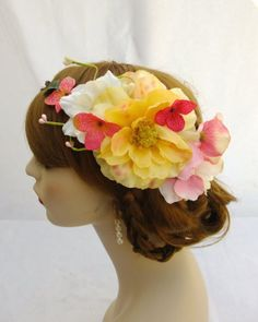 #FlowerCrown Yellow and Pink Flower Crown by RuthNoreDesigns, $38.00 #floral #romantic