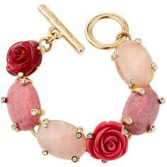 Oscar De La Renta Floral Resin & Cabochon Bracelet ($390) ❤ liked on Polyvore featuring jewelry, bracelets, jewelry bracelets, pink multi, pink bangles, oscar de la renta, pink jewelry, resin bangle and resin jewelry