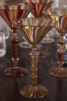 A collection of vintage martini glasses I enjoying using at cocktail parties.