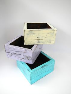 Shabby chic wooden planter box set of 3 for candles, wedding center piece, flowers, herb garden, etc. $39.00, via Etsy.