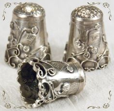 Vintage sterling silver thimbles