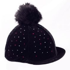 b55ba061de6 Black Diamante Velvet Fake Fur Pom Pom Riding Hat Cover Equestrian Outfits