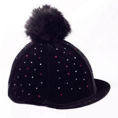 b55ba061de6 Black Diamante Velvet Fake Fur Pom Pom Riding Hat Cover Equestrian Outfits